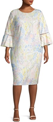 Calvin Klein Collection Plus Floral Bell Sleeve Sheath Dress