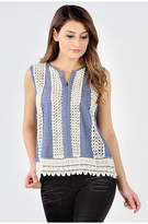 Asstd National Brand Crochet Embellished Tank