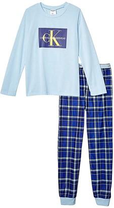 Calvin Klein Kids Two-Piece Set w/ Brushed Micro (Little Kids/Big Kids) (Angel Falls Navy Plaid) Boy's Pajama Sets