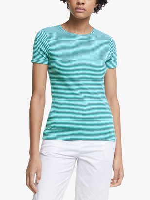 John Lewis & Partners GOTS Organic Cotton Short Sleeve Crew Neck Stripe T-Shirt