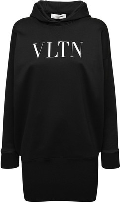 Valentino Printed Logo Cotton Jersey Hoodie Dress