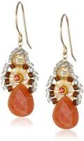"Miguel Ases Orange Jade and Created Quartz Drop Earrings, 1.4"""