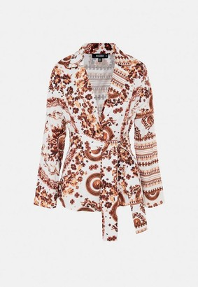 Missguided White Printed Co Ord Tie Waist Tailored Jacket
