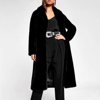 River Island Womens Black faux fur robe longline coat