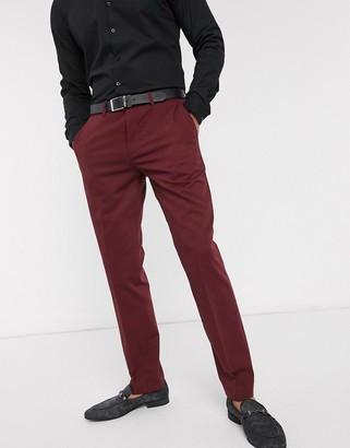 Lockstock Mayfair slim fit suit pants in burgundy