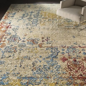 Surya Colaba Hand-Knotted Aqua/Navy Area Rug Rug Size: Rectangle 9' x 13'