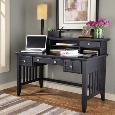 Home Styles Arts & Crafts Executive Desk w/Hutch in Black