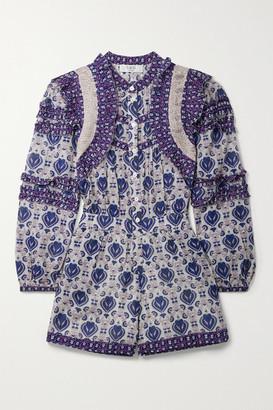 Sea Brigitte Ruffled Printed Cotton-voile Playsuit - Lilac