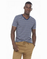 Express blue and gray striped v-neck ringer tee