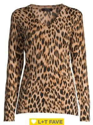 Lord & Taylor Leopard V-Neck Wool Sweater