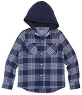 7 For All Mankind Boys' Plaid Hooded Flannel Shirt - Big Kid