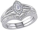 1/3 CT. T.W. Marquise and Round Diamond Bridal Ring Set in Sterling Silver (GH I2-I3)