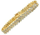 "0.01 CT.T.W Round Cut Diamond Accent Leaf Style Prong Set Bracelet Gold Plated (7.25"")"