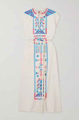 Figue Kari Belted Embroidered Cotton Midi Dress - Ivory