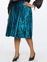 ELOQUII Pleated Crushed Velvet Midi Skirt