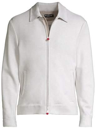 Kiton Suede Undercollar Cashmere Zip-Up Jacket