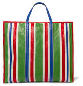 Balenciaga Bazar Striped Textured-leather Shopper - Green