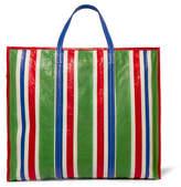 Balenciaga Bazar Xl Striped Textured-leather Shopper - Green