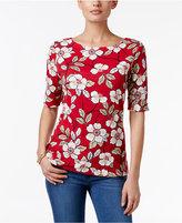 Karen Scott Floral-Print Elbow-Sleeve Top, Only at Macy's