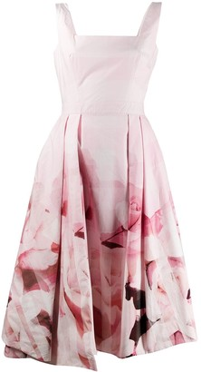 Alexander McQueen Rose-Print Pleated Dress