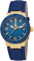 Just Cavalli 34mm Rock Watch w/ Leather Strap, Yellow Golden/Blue