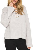 Simplee Apparel Women's Flare Sleeve Lace up V Neck High Low Knit Sweater