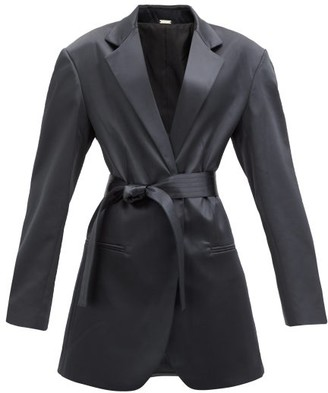 Dodo Bar Or Coco Sash-waist Satin Suit Jacket - Black