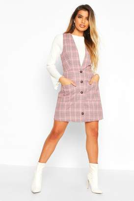 boohoo Check Button Down Pinafore Dress
