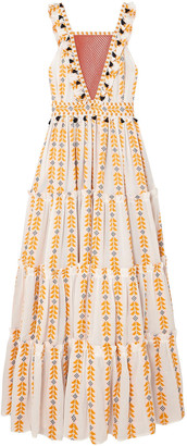 Dodo Bar Or Tiered Crochet-trimmed Cotton-jacquard Maxi Dress