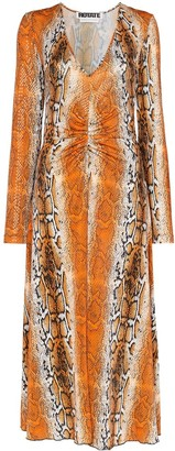 Rotate by Birger Christensen Snake Print Jersey Midi Dress