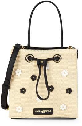 Karl Lagerfeld Paris Tess Straw Bucket Bag