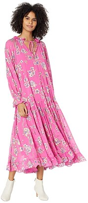 Free People Feeling Groovy Maxi Foil (Hot Pink Combo) Women's Clothing