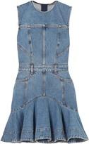 Alexander McQueen Flared Ruffled Striped Denim Mini Dress