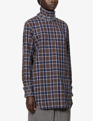 Victoria Beckham Checked ruffled cotton shirt