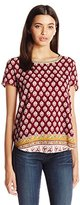 Jolt Women's Front Print Knit to Woven Top