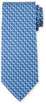 Salvatore Ferragamo Pheasant Silk Twill Tie, Blue