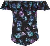 River Island Girls Black pineapple ruffle bardot bodysuit