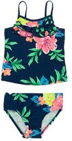 Carter's Girls 4-6x Ruffled Tropical Flower Tankini Top & Bottoms Swimsuit Set