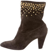 Brian Atwood Embellished Suede Ankle Boots