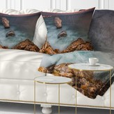 """Beach Big Rock Formations near Tulenovo Pillow East Urban Home Size: 16"""" x 16"""", Product Type: Throw Pillow"""