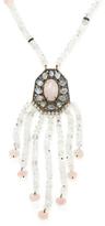 Rainbow Moonstone, Rose Quartz, Black Spinel & Champagne Diamond Long Pendant Necklace