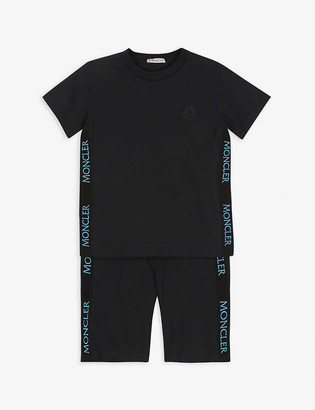 Moncler Grosgrain logo-print cotton T-shirt and short set 4-14 years