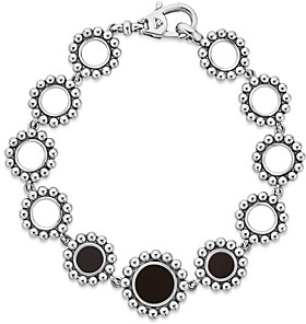 Lagos Sterling Silver Maya Black Onyx Circle Link Bracelet