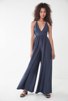 Urban Outfitters Gia Plunging Shimmer Jumpsuit