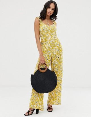 Vila frill shoulder floral jumpsuit-Yellow