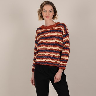Molly Bracken Striped Knit Jumper with Drop Shoulders and Round Neck