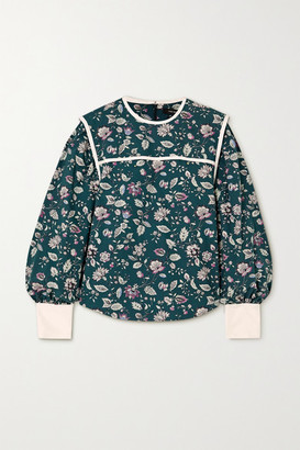 Isabel Marant Casey Silk-trimmed Floral-print Cotton Blouse - Dark green