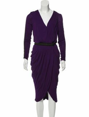 Alexander McQueen Grommet-Accented Midi Dress Violet