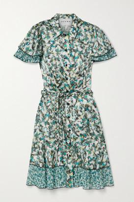 DYVNA Belted Printed Chiffon-trimmed Hammered Silk-satin Mini Dress - Green