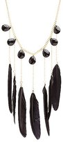 Charlotte Russe Feather & Gemstone Statement Necklace